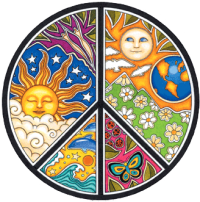 "Sun, Moon & Seasons Peace Sign - Bumper Sticker / Decal (4.5"" X 4.5"")"