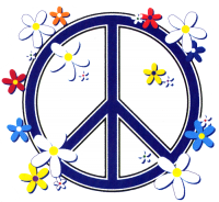 "Peace Sign Daisies - Bumper Sticker / Decal (4"" X 4"")"