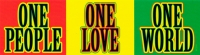 "One People One World One Love - Bumper Sticker / Decal (8.25"" X 2.25"")"
