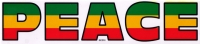 "Peace (Rasta Colors on Clear) - Bumper Sticker / Decal (8"" X 1.75"")"