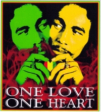 "One Love, One Heart - Bob Marley - Bumper Sticker / Decal (3.5"" X 3.5"")"