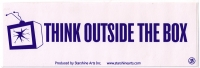"Think Outside the Box - Bumper Sticker / Decal (9"" X 3"")"