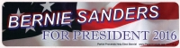 "Bernie Sanders for President 2016 - Bumper Sticker / Decal (10.5"" X 2.75"")"