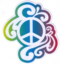 "Rainbow Peace Sign - Bumper Sticker / Decal (4"" X 4.5"")"