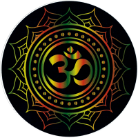 "Om Symbol With Lotus (Rasta Colors On Black) - Window Sticker / Decal (4.5"")"