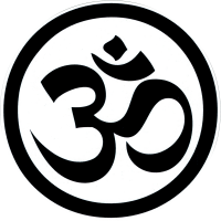 "Black & White Om Symbol - Bumper Sticker / Decal (4.5"" Circular)"