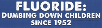 "Fluoride: Dumbing Down Children Since 1952 - Bumper Sticker / Decal (10"" X 3"")"