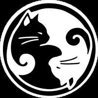 """Yin Yang Cats - Bumper Sticker / Decal (4.25"""" Circular)"""