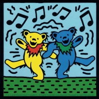 "Grateful Dead Dancing Bears (2 bears) - Bumper Sticker / Decal (4"" X 4"")"