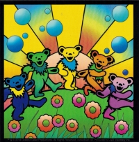 "Grateful Dead Dancing Bears with Sunshine - Bumper Sticker / Decal (4"" X 4"")"