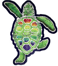 "Rainbow Terrapin Batik - Bumper Sticker / Decal (4.75"" X 5.5"")"