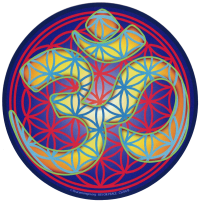 "Flower of Life Om (gold) - Bumper Sticker / Decal (5"" Circular)"