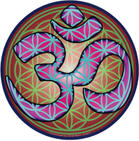 "Flower of Life Om (purple) - Bumper Sticker / Decal (5"" Circular)"