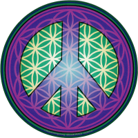 "Flower of Life Peace Symbol (purple) - Bumper Sticker / Decal (5"" Circular)"