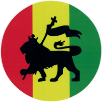 "Rasta Lion - Bumper Sticker / Decal (4.5"" Circular)"
