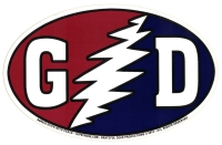 "Grateful Dead ""GD"" with Lightening Bolt - Bumper Sticker / Decal (5.5"" X 3.5"")"