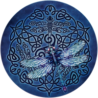 "Celtic Dragonfly - Bumper Sticker / Decal (4.5"" Circular)"