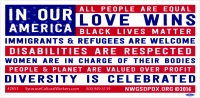 "In Our America... - Bumper Sticker / Decal (7.75"" X 3.75"")"