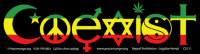 "Rasta Colors Coexist - Bumper Sticker / Decal (10.5"" X 3"")"