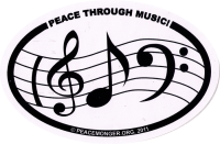 "Peace Through Music (oval) - Bumper Sticker / Decal (6"" X 4"")"