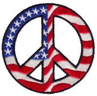 Patriotic Open Spoke Peace Sign - Patch