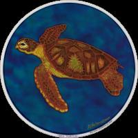 """Sea Turtle - Window Sticker / Decal (4.5"""" Circular)"""