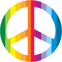 Rainbow Peace Sign (vertical) - Window Sticker / Decal