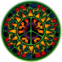 "Stained Glass Peace -Window Sticker / Decal (4.5"" Circular)"
