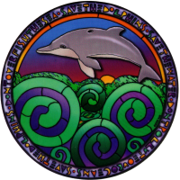 "Dolphin Spirals - Window Sticker / Decal (4.75"" X 4.75"")"