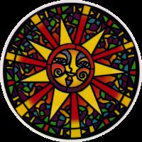 Stained Glass Sun - Window Sticker