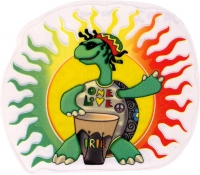 "Rasta Turtle One Love - Window Sticker / Decal (5.5"" Circular)"