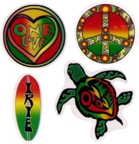 "Rasta Designs - Window Stickers / Decals (4 - 2.5"" Stickers)"