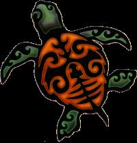 "Island Turtle - Window Sticker / Decal (4.5"" X 4.75"")"
