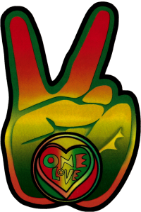 "Rasta Peace Hand - Window Sticker / Decal (3.75"" X 5.5"")"