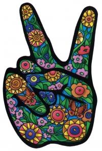 "Flower Hand (Peace Fingers) - Window Sticker / Decal (3.5"" X 5.25"")"