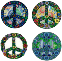 "Four Peaces - Window Sticker / Decal (4 at 2.25"" each)"