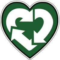 "Recycle Love - Window Sticker / Decal (4.5"" X 4.5"")"