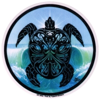 "Tribal Sea Turtle - Window Sticker / Decal (4.75"" Circular)"