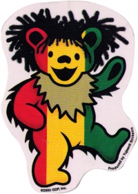 "Rasta Dancing Bear - Grateful Dead - Window Sticker / Decal (3"" X 4"")"