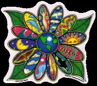 "Earth Blossom - Window Sticker / Decal (4.5"" X 4.5"")"