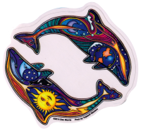 "Night and Day Dolphin - Window Sticker / Decal (4.5"" X 4.5"")"