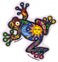 "Night and Day Frog - Window Sticker / Decal (4.5"" X 4.5"")"