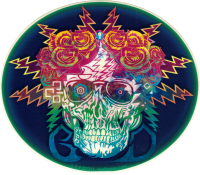 "Grateful Dead Electric Skull and Roses - Window Sticker / Decal (5.5"" X 4.75"")"