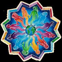 "People Encircling the Earth Mandala - Window Sticker / Decal (5"" X 5"")"