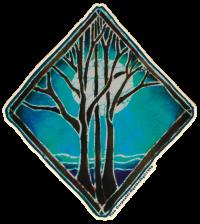 "Night Tree - Window Sticker / Decal (5.25"" X 6"")"