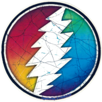 "Grateful Dead Rainbow Lightening Bolt - Window Sticker / Decal (5"" Circular)"