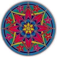 """Om Flower Mandala - Window Sticker / Decal (5.5"""" Circular)"""