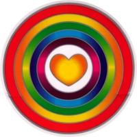 "Rainbow Heart - Window Sticker / Decal (5.5"" Circular)"
