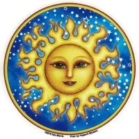 "Starry Sun - Window Sticker / Decal (4.5"" Circular)"