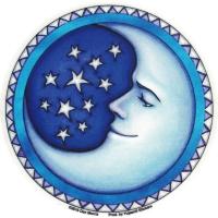 "Starry Moon - Window Sticker / Decal (4.5"" Circular)"